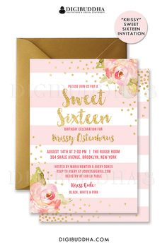 Blush pink striped Sweet Sixteen birthday invitations with boho chic pink watercolor peonies and gold glitter confetti dots. Choose from ready made printed invitations with envelopes or printable sweet 16 birthday invitations. Rose shimmer envelopes also available. digibuddha.com