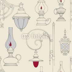 Вектор: Vector vintage lamp seamless pattern