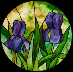 Two Irises Love the background glass!  So pretty a dad would have loved this, I think the first house in Virginia had Iris stained glass in the master bathroom too