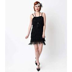 Black Speakeasy Tiered Fringe Flapper Dress ($78) ❤ liked on Polyvore featuring dresses, black, roaring 20s dress, slip dress, vintage 20s dresses, vintage 1920s dresses and vintage style dresses
