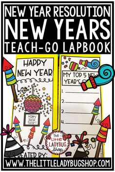 Your students will love this engaging and fun New Years Writing Lapbook is perfect for assisting you in Goals and Resolution Writing Activities! This New Years lapbook is perfect for students in 3rd grade, 4th grade, 5th grade, and home schooling classrooms. #newyearsactivity #newyearsresolutionactivity #classroomresolution