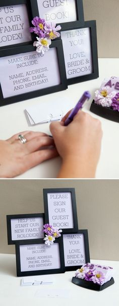 genius - Guest book rolodex--really like this!! and then maybe a note for the bride and groom on the back?! by charmaine