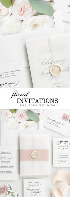 The Haley wedding invitation suite is paired with Rose florals. Rose features eucalyptus, spray roses, lisianthus, and white mums.