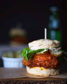 A buttermilk biscuit, chicken-fried seitan, and buffalo sauce to create a Vegan Buffalo Chicken Biscuit! A sandwich for any time of the day! Vegan Crab, Bagel Breakfast Sandwich, Vegan Beef, Mushroom Gravy, Vegan Pumpkin, Crab Cakes, Buffalo Chicken, Food Print
