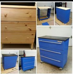 Tool box dresser that my awesome hubby made! - Tool box dresser that my awesome hubby made! Tool Box Dresser, Repurposed Furniture, Painted Furniture, Furniture Makeover, Diy Furniture, Bedroom Furniture, Furniture Design, Hack Ikea, Baby Boy Rooms