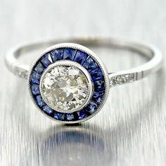 Original Antique Art Deco C1920 Platinum .66ct Diamond Sapphire Engagement Ring #Unbranded #SolitairewithAccents