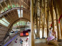 This school's structure was built  with three different types of bamboo:  Petung, Tali and Duri. The roofs are  covered for the most part with bundles  of Alang Alang grass. The walls are made  of bamboo, clay, mud and cotton