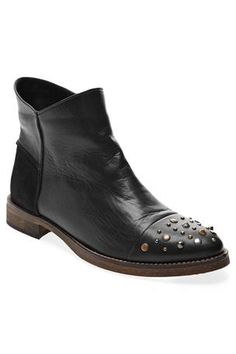 Flat Stud Toe Cap Ankle Boots