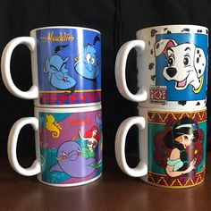 Lot 4 Disney Mugs - Vintage 90s - Aladdin, 101 Dalmatians, Little Mermaid - Jasmine Genie Ariel - Vintage Disney Vintage Drinkware