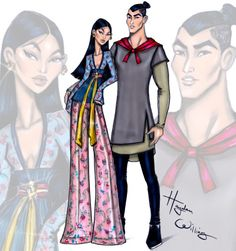 Hayden Williams Fashion Illustrations 'Disney Darling Couples' by Hayden Williams: Mulan & Li Shang ‪ Hayden Williams, Moda Disney, Disney Mode, Walt Disney, Robes Disney, Disney Couples, Pocahontas Disney, Disney Couture, Disney Princess Fashion