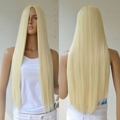 New Blonde Women's Lady Full Long Straight Hair Wig Cosplay Party Wigs No Bangs Party Hairstyles, Wig Hairstyles, Straight Hairstyles, Cosplay Hair, Cosplay Wigs, Cheap Cosplay, Anime Cosplay, Cosplay Ideas, Anime Sexy