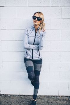love the chic fitness gear. strong piping and lines on the fitted jacket. interesting pattern on the running tights.