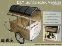 The Greener Gadgets Design Competition brought tons of great green ideas into… Diy Solar, Bike Cart, Velo Cargo, Velo Vintage, Camping, Design Competitions, Ford Focus, Bike Accessories, Restaurant Bar