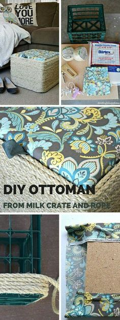 Check out this tutorial: DIY Milk Crate Ottoman crafts homedecor - Decoration Organization Crate Ottoman, Diy Ottoman, Diy Storage Ottoman, Storage Crates, Milk Crate Storage Ideas, Ottoman Decor, Ottoman Cover, Ottoman Slipcover, Art Storage