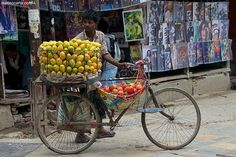 Fruit Seller - Pinned by Mak Khalaf Fruit Seller shop in the streets of Nepal's Capital city Kathmandu Travel Central Regionbicyclecityfruitkathmandumanmarketnepalsellingstreettravel by matteocartaphoto