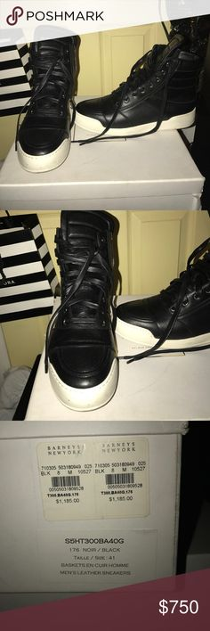Balmain men high top sneakers Black and white size 41 high top men balmain sneakers in good condition. Come with dust bag and box (the box is a little damaged from storage). Balmain Shoes Sneakers