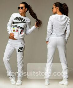 Article: V00025 #velour #tracksuit Order of this product only by wholesale catalog at our website. Stylish womens velour international white sweatsuit.