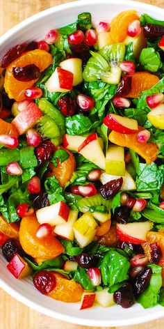 Winter Spinach Salad with Apples, Pears, Mandarin Oranges, Kiwi Fruit, Cranberries, and Pomegranate