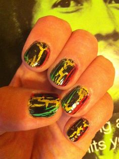 Rasta Nails with Crackle