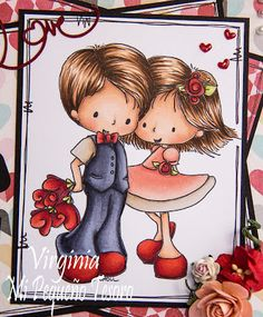 Copic Marker España: Love - Tiddly Inks image - Skin: E13-E21-E00-R20 Hair: E47-E57-E35 Dress: R22-R21-R20-R00 Suit: C5-C7-C3 Shoes, flowers and hearts: R39-R29-R17-R14  Leaves: BG93 - BG91-YG00
