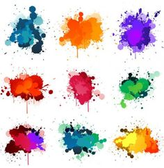 Vivid Colors Paint Splashes Vector Set - http://www.dawnbrushes.com/vivid-colors-paint-splashes-vector-set/