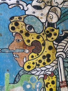 """fresco tradicional pintado a la manera antigua reproduccion del mural llamado: """"El sacerdote jaguar"""" de la zona arqueologica de Cacaxtla tlaxcala"""