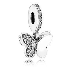 Pandora Silver Cubic Zirconia Fluttering Butterflies Pendant Charm 791844CZ