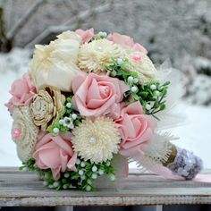 Wedding bouquet Brogan  and boutonniere by Marcellinewedding on Etsy
