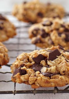 Peanut Butter, Oatmeal & Chocolate Chunk Cookies – Creamy peanut butter and chocolate chunks: We can't think of two nicer things to happen to an oatmeal cookie.