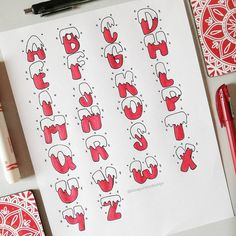 Christmas is coming and you may want to write your bullet journal or handmade Christmas card, then you must need these Christmas doodles! These Christmas doodles are cute and teach you step by step how to draw them perfectly, so you can learn easily. December Bullet Journal, Bullet Journal Headers, Bullet Journal Font, Journal Fonts, Bullet Journal Aesthetic, Hand Lettering Alphabet, Simple Doodles, Love Doodles, Bullet Journal Inspiration