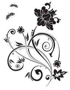 Vector of 'Floral ornament with butterfly, element for design, vector illustration'