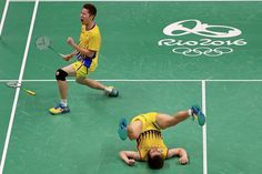 V Shem Goh and Wee Kiong Tan of Malaysia celebrate winning a Mens Doubles Quarterfinal match against Yong Dae Lee and Yeon Seong Yoo of Korea on Day 10 of the 2016 Rio Olympics at Riocentro Pavillion on August 15, 2016 in Rio de Janeiro, Brazil. (Aug. 14, 2016 - Source: Mike Ehrmann/Getty Images South America)