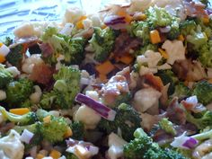 Broccoli salad with bacon, Cauliflower and cheddar cheese