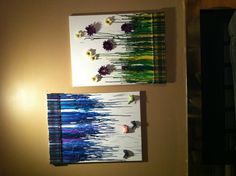 what to do with all those canvases and old crayons - with umbrella, swing and marionette