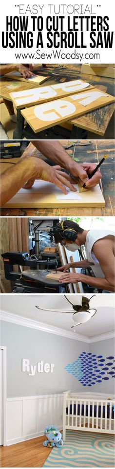 Easy Tutorial on How to Cut Letters Using a Scroll Saw + Safety Video made for nursery is creative inspiration for us. Get more photo about home decor related with by looking at photos gallery at the bottom of this page. Woodworking Power Tools, Woodworking Basics, Beginner Woodworking Projects, Woodworking Plans, Woodworking Patterns, Scroll Saw Patterns Free, Scroll Pattern, Wood Patterns, Cross Patterns