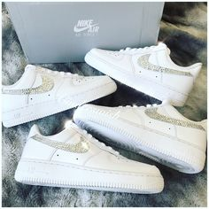 5e7307b0003e Swarovski Nike Air Force ones in pure White   Bling Nikes   White Nikes    Sparkly Nikes   Bling Sneakers
