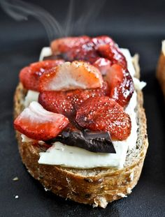 Roasted Strawberry, Brie, and Chocolate Grilled Cheese