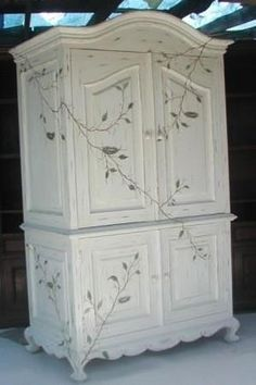 Vintage Furniture Birds Nest Armoire - Hand made, hand carved in Olinda Romani's Birds Nest design. Part of her French hand painted furniture collection. x 80 x 26 Available as a Computer, Wardrobe or Television Armoire. Custom armoires available. Hand Painted Furniture, Refurbished Furniture, Paint Furniture, Repurposed Furniture, Shabby Chic Furniture, Furniture Makeover, Vintage Furniture, Cool Furniture, Furniture Ideas