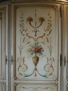 FRENCH PAINTED ARMOIRE detail