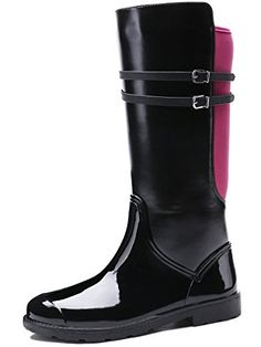 TONGPU Women's Zipper Mid Calf Rain Boots Our company is specialized in Rain boots,our shoes exported to countries all over the world. Rain And Snow Boots, Rubber Rain Boots, Discount Designer Shoes, Patchwork Designs, Riding Boots, Footwear, Zipper, Women's Shoes, Red