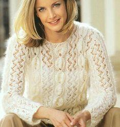 Ажурный пуловер женский 38-40 размера Материал: - Gedifra Kid Royal (60% Супер кид мохер, 34% полиамид, 6% шерсть, длина нити около 100 м/25 г),  - 275 г цвета Natur № 1225.