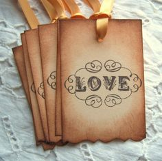 LOVE Tags Vintage Inspired Elegant Scrolls by SweetlyScrappedArt, $3.75
