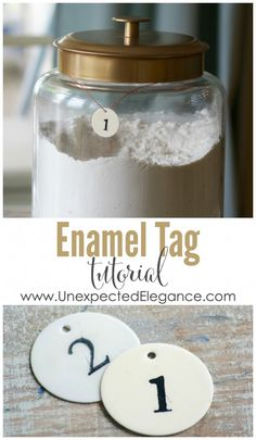 Check out this {French Inspired}Enamel Tag Tutorial!   You could use them to number bins in a playroom, as place cards at a wedding or to top off a favor.  They are great for organizing.