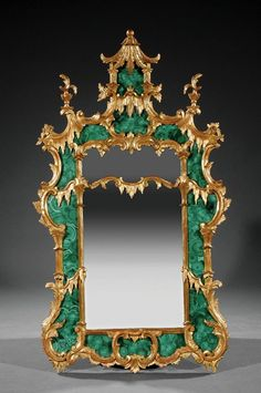 A Chinese Chippendale-Style Malachite Mirror
