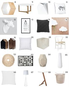 Get the Look - Jo & Damo's 'New Nordic' Your Home and Garden Magazine Cover - The Block NZ 2014  - Visit blog.curate.co.nz for links to all products  |  Goatskin Ottoman from Republic; Hans J. Wegner Wishbone Chair from Cult Design; Hexagon box, Geometric Vase, Fox Cushion, Deer Head, Cloud Planter, and House candle holders from Junk & Disorderly;  Coffee Table, Art Print, Cushions, Vessels, Floor Lamp, Side Table, Floor Rug, Sofa & Basket from Freedom;