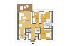 Projekt domu O110 - Pôdorys Construction Drawings, Construction Cost, Site Plan Drawing, 3 Bedroom Bungalow, Stone Cladding, Energy Efficient Homes, Building Structure, Concrete Blocks, Plan Design