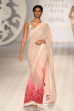 B'ful Blush Pink #Saree by Varun Bahl https://www.facebook.com/pages/Varun-Bahl/148626261957118 @ #ICW2014
