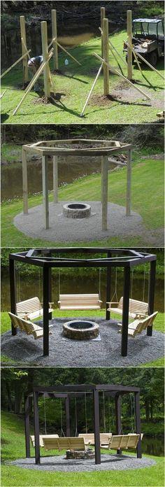 DIY Hinterhof Feuerstelle mit Schaukel Sitze # Hinterhof #Home_improvement #bunkerplans #bunkerplans #feuerstelle #hinterhof #improvement #schaukel #sitze