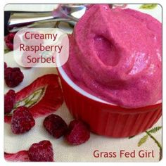 Easy Raspberry Sorbet (Paleo, Dairy Free, Low Carb) -Serves 2 ---coconut milk (full fat can) frozen raspberries , gelatin, Stevia or honey Paleo Dessert, Healthy Sweets, Delicious Desserts, Dessert Recipes, Yummy Food, Diabetic Sweets, Healthy Food, Paleo Ice Cream, Low Carb Ice Cream