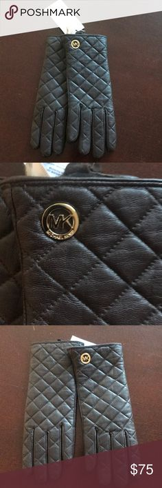 Michael Kors Brown Leather Gloves Sz M Xmas gift Brand new pair of quilted design gloves with tags . Great gift for the holidays . Goldtone MK Logo . MICHAEL Michael Kors Accessories Gloves & Mittens